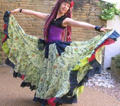Gypsy swirl skirt. Mint magic tribal belly dance by peacockandrose