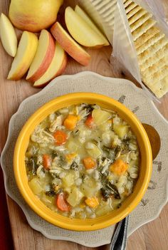 Crockpot Chicken and Barley Vegetable Stew #crockpot #soup #healthy