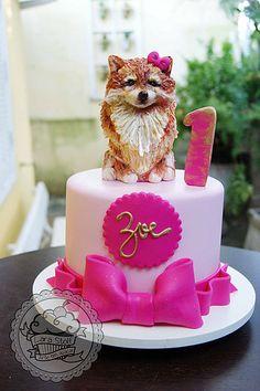 Pomeranian Dog Birthday Cake Fondant Icing Toppers Anxiety