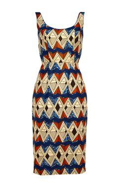 Coriander Wax Sheath Dress by Stella Jean for Preorder on Moda Operandi