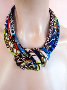 African Fashion fabric bib necklace, african wax golden metalic print with a central knot . on Etsy, $54.44