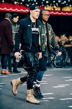 Fashion Week homme Street looks Paris automne hiver 2016 2017 Streetstyle urban camo boots menstyle