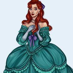 Baroque Disney Ariel in her beautiful victorian aqua green dress