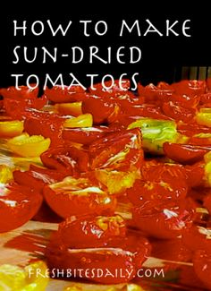 Sun dried tomatoes are a great treat. You can buy sun-dried tomatoes or dry tomatoes yourself should you have access to a bumper crop. Either way, you can enjoy the rich, musky flavor of a sun dried tomato all year round. Canning Recipes, Raw Food Recipes, Veggie Recipes, Healthy Recipes, Make Sun Dried Tomatoes, Homemade Seasonings, Emergency Food, Mediterranean Dishes, Dehydrated Food