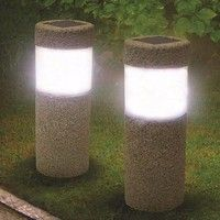 Garden Lawn Stone Pillar Solar White LED Light During the day time, light from the sun charges up