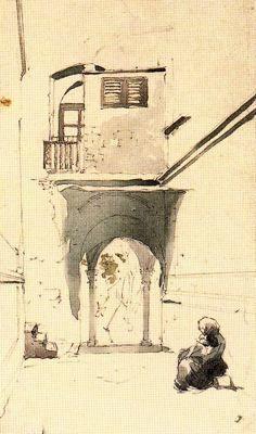 """Xavier Gosé Rovira (1876-1915). """"Pati de casa"""". Lápiz, acuarela sobre papel. 24 x 14 cm."""