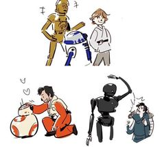 C3P0 + R2-D2: Why hello Master Luke! It's a pleasure to see you.  BB-8: POE POE POE HHIHIHI POE  K2-S0: *WHAP* *Sasses*