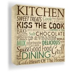 Kitchen Typography Wall Art.