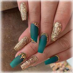 Nail Designs nail designs for fall nail designs for summer gel nail designs 2019 - Teal Nails, Bling Nails, My Nails, Gold Gel Nails, Cute Nails, Pretty Nails, Birthday Nail Art, Birthday Quotes, Birthday Ideas