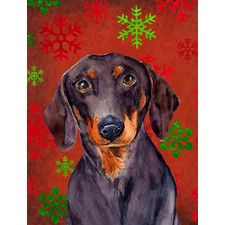 Dachshund Red and Green Snowflakes Holiday Christmas 2-Sided Garden Flag