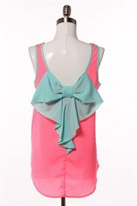 Hug Neon Pink Bow Back Sleevless Top with Turquoise Trim and Bow www.boutiqueataudreys.com