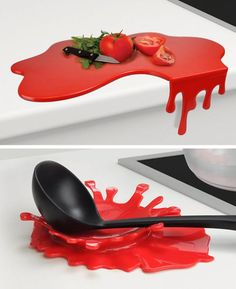 Blood Splatter Cutting Board and Spoon Holder