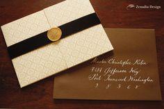 Whimsical Fall Art Deco Wedding Invitation - Zenadia Design