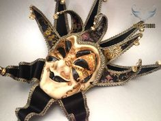 What a cool mens Jolly Jester Masquerade Mask Black & Gold - Full Face – Masquerade Mask Studio Jester Mask, Mens Masquerade Mask, Masked Man, Full Face Mask, Black Gold, Studio, Studios