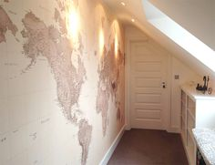 Sepia World Map wallpaper by Wallpapered... would love this for nursery or play room!