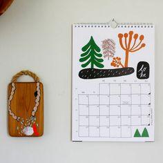 Wall calendar 2014 Aamut, päivät, illat, yöt | Weecos Calendar 2014, Advent Calendar, What Day Is It, Winter White, White Christmas, Illustration, Holiday Decor, Crafts, Inspiration