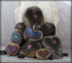 Newest crop of Mosaic Rock Art / Garden Stones and Paperweights by Chris Emmert, via Flickr