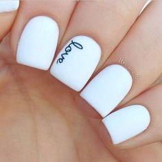 """""""love"""" white nails <3"""