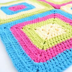 Free Colorful Solid Granny Square Dishcloth Crochet Pattern includes a video tutorial. A fun, lively and super simple crochet pattern. Read more...