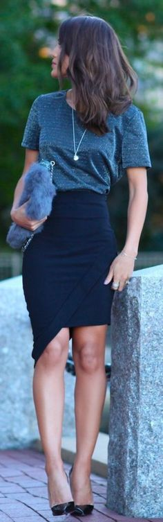 <3 DRAPE SKIRTS ARE JUST AWESOME <3 45 Casual Summer Work Outfits To Wear To Office #WomensFashion