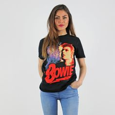 Bowie Black Short Sleeve Round Neck Authentic Licenced Rock T Shirt Festival Trends, Rock T Shirts, Black Shorts, Bowie, Summer Looks, Tees, Sleeve, Women, Style