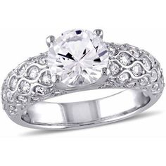 Miabella 3-1/10 Carat T.G.W. Created White Sapphire 10kt White Gold Cocktail Engagement Ring, Women's