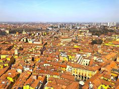The Ancient Walled City of Bologna, Italy Covered Walkway, Bologna Italy, Brick Design, Walled City, Medieval Town, Train Station, Old Town, Paris Skyline, City Photo