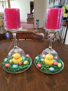 Here's some adorable Easter wine glass centerpiece ideas I found on Pinterest! Unfortunately I couldn't find the original creators of a lot of them so let me know if you made one! Paint Easter egg designs on the wine glass such as zig zags, polka dots, and colors! Flip a wine glass upside down on … #paintedwineglasses