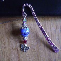 Vendu - marque page métal argenté, belle perle de verre