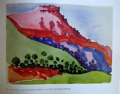 Georgia O'Keeffe watercolors, Red Mesa, from the book Georgia O'Keeffe: Art and Letters (National Gallery of Art, 1987) http://lauraswatercolors.blogspot.co.uk/2008/09/okeeffes-blue-river.html