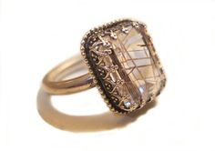 Rutilated Quartz Ring Silver Sterling Ring by ViademonteJewelry