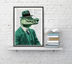 DECORATIVE ART- Chic Crocodile - Wall decor, Unique Gift- Crocodile with green suit wall hanging - Poster Print art fun poster wall BPAN172