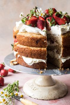 Strawberry Chamomile Naked Cake…because it's SPRING!Or it will be on Tuesday, so close enough. Round Cake Pans, Round Cakes, Cake Recipes, Dessert Recipes, Desserts, Naked Cake, Half Baked Harvest, Let Them Eat Cake, Vanilla Cake