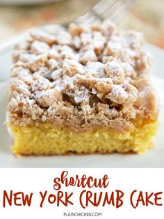 Shortcut New York Crumb Cake - yellow cake mix topped with an easy homemade crumb topping. Yellow cake mix, sugar, brown sugar, cinnamon, butter and cake flour. Super easy to make and tastes great. This cake is OUTRAGEOUSLY good! I could not stop eating it! Great for a crowd. We ate this for breakfast and dessert. Cake Mix Desserts, Cake Mix Recipes, Easy Desserts, Baking Recipes, Dessert Recipes, Cheesecake Recipes, Yellow Desserts, Cake Mix Coffee Cake, Crumb Coffee Cakes