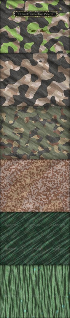 "6 Tileable Camouflage Patterns  #GraphicRiver         6 Tileable Realistic Camouflage Texture Patterns  	 Includes:  	 1 .PAT File with 6 patterns in resolution (600px * 600px)  	 6 .PSD Files (1600px * 1200px) with 3 layers: curves, gradient and pattern  	 6 Camouflage Tiles (600px * 600px) in .JPG Format  	 .PDF Help File ""How to install Patterns in Adobe Photoshop""  	 Njoy!      Created: 3March11 Add-onFilesIncluded: LayeredPSD #PhotoshopPAT MinimumAdobeCSVersion: CS Tags: 3dartist #army…"
