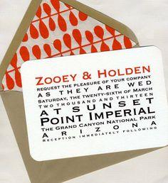 Zooey & Holden Wedding Invitation Set. $10.00, via Etsy.
