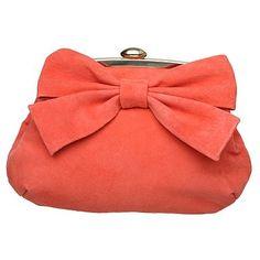 Coral Suede Bow Clutch Bag - Evening & clutch bags - Handbags & purses - Women -