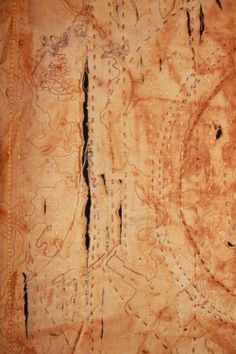 """Wendy Feldberg, """"Earth and Heaven"""" (rust printed and embroidered vintage linen panel on black wool). Slashed and torn."""