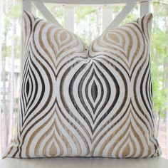 Designer Neutral Pillow - Steel Grey Ivory Gold Ogee Geometric Pillow Cover - Silver Gold Ombre Throw Pillow