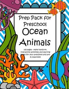 This is a comprehensive set of printables with an Ocean Animals theme - make hands-on, interactive activities and learning games for your preschool and pre-K classroom. Engaging graphics, most activities are developmentally appropriate for ages 3 - 5, and SPED. 106 pages