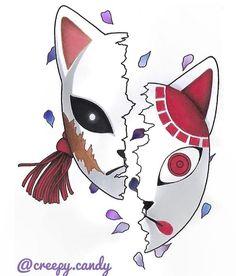 Japanese Drawings, Japanese Tattoo Art, Kitsune Maske, Slayer Tattoo, Mask Drawing, Kpop Drawings, Anime Tattoos, Anime Stickers, Japan Art