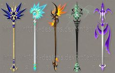 Staff designs 36 by Rittik-Designs on DeviantArt. I want the second one Fantasy Sword, Fantasy Art, Anime Weapons, O Pokemon, Weapon Concept Art, Mythical Creatures, Cool Art, Anime Art, Character Design