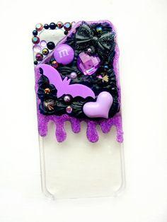 Lilac Glitter Slime Black Whipped Cream Bat Decoden Phone Case