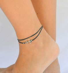 Anchor anklet, Navy blue dainty wrap anklet with a silver anchor charm, blue ankle bracelet, gift for her, nautical, summer beach jewelry. $13.00, via Etsy.