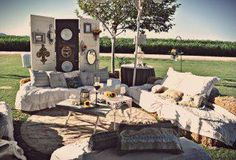 hay bale seating.  love the doors and mirrors arrangement