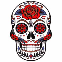 Sugar Skull Rose Sticker – U. Day Of The Dead Skull Tattoo, Tatto Skull, Dibujos Sugar Skull, Caveira Mexicana Tattoo, Sugar Skull Artwork, Sugar Skull Painting, Day Of The Dead Artwork, Skull Coloring Pages, Colorful Skulls