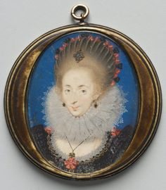 Portrait of Lucy Russell, Countess of Bedford, née Harrington, 1612 studio of Isaac Oliver I (French, c. 1565-1617) watercolor on vellum with gold and silver in original stained ivory case, Unframed 1949.547