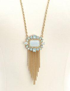 Faceted Stone Fringe Pendant Necklace: Charlotte Russe
