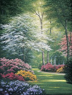 A secluded gazebo is barely visible behind the luxurious flowering bushes in another beautiful floral garden print by award winning artist Charles White. This print comes in two unframed image sizes. Beautiful Paintings, Beautiful Landscapes, Beautiful Gardens, 3d Foto, Image Nature, Nature Nature, Nature Pictures, Fantasy Pictures, Landscape Art