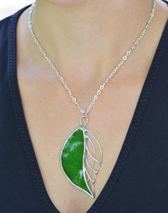 Green leaf pendant stained glass jewelry glass by OrioleStudio, £18.00